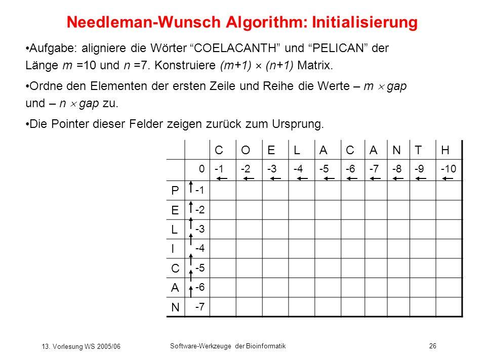 13. Vorlesung WS 2005/06 Software-Werkzeuge der Bioinformatik26 Needleman-Wunsch Algorithm: Initialisierung Aufgabe: aligniere die Wörter COELACANTH u