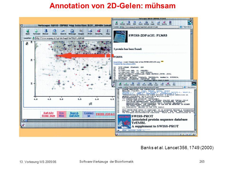 13. Vorlesung WS 2005/06 Software-Werkzeuge der Bioinformatik265 Annotation von 2D-Gelen: mühsam Banks et al. Lancet 356, 1749 (2000)