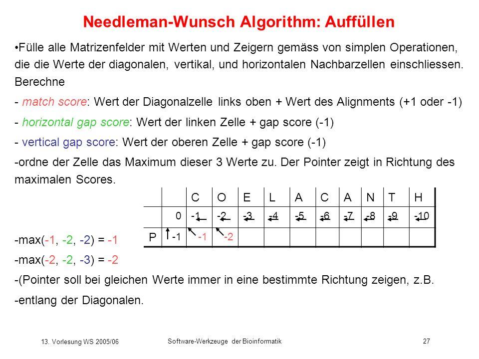 13. Vorlesung WS 2005/06 Software-Werkzeuge der Bioinformatik27 Needleman-Wunsch Algorithm: Auffüllen Fülle alle Matrizenfelder mit Werten und Zeigern