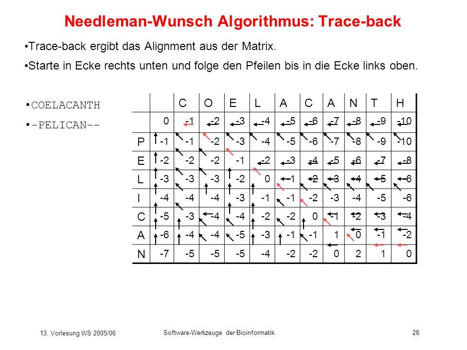 13. Vorlesung WS 2005/06 Software-Werkzeuge der Bioinformatik28 Needleman-Wunsch Algorithmus: Trace-back Trace-back ergibt das Alignment aus der Matri