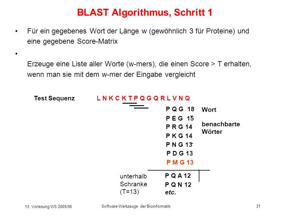 13. Vorlesung WS 2005/06 Software-Werkzeuge der Bioinformatik31 BLAST Algorithmus, Schritt 1 Für ein gegebenes Wort der Länge w (gewöhnlich 3 für Prot