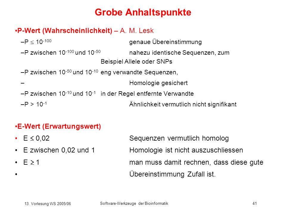 13. Vorlesung WS 2005/06 Software-Werkzeuge der Bioinformatik41 Grobe Anhaltspunkte P-Wert (Wahrscheinlichkeit) – A. M. Lesk –P 10 -100 genaue Überein