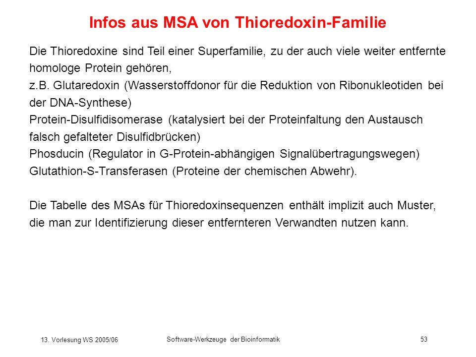 13. Vorlesung WS 2005/06 Software-Werkzeuge der Bioinformatik53 Infos aus MSA von Thioredoxin-Familie Die Thioredoxine sind Teil einer Superfamilie, z