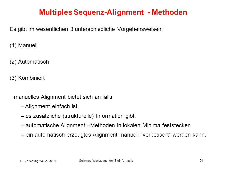 13. Vorlesung WS 2005/06 Software-Werkzeuge der Bioinformatik54 Es gibt im wesentlichen 3 unterschiedliche Vorgehensweisen: (1) Manuell (2) Automatisc