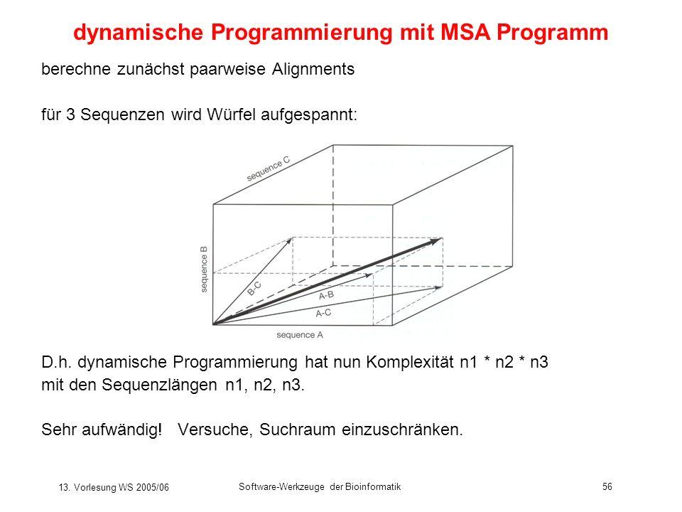 13. Vorlesung WS 2005/06 Software-Werkzeuge der Bioinformatik56 berechne zunächst paarweise Alignments für 3 Sequenzen wird Würfel aufgespannt: D.h. d