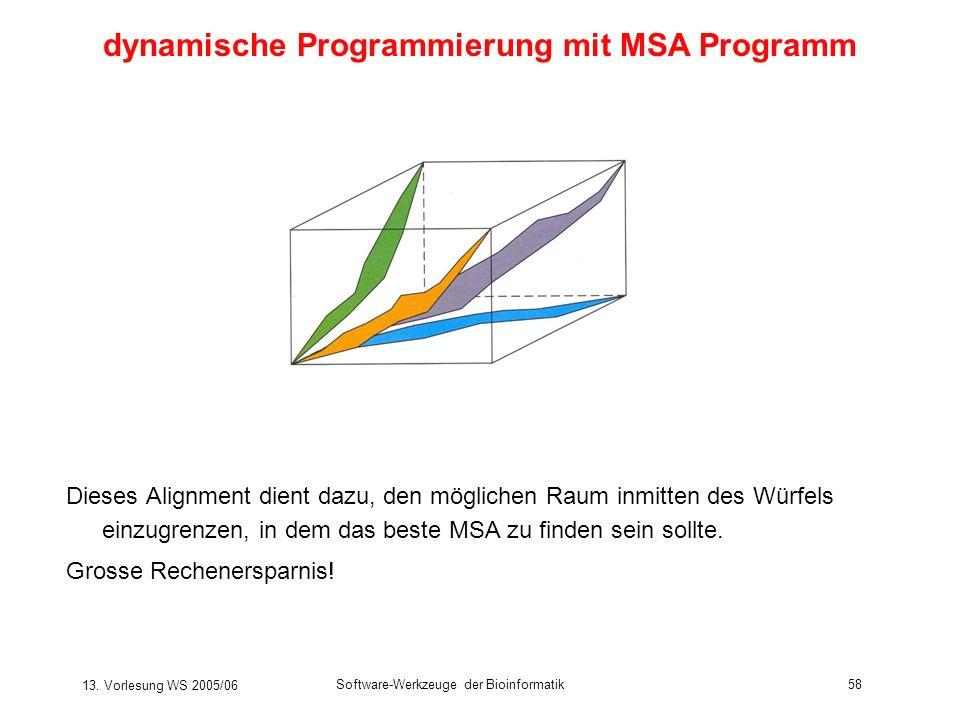 13. Vorlesung WS 2005/06 Software-Werkzeuge der Bioinformatik58 Dieses Alignment dient dazu, den möglichen Raum inmitten des Würfels einzugrenzen, in