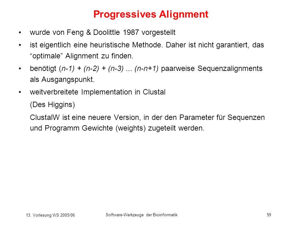 13. Vorlesung WS 2005/06 Software-Werkzeuge der Bioinformatik59 wurde von Feng & Doolittle 1987 vorgestellt ist eigentlich eine heuristische Methode.
