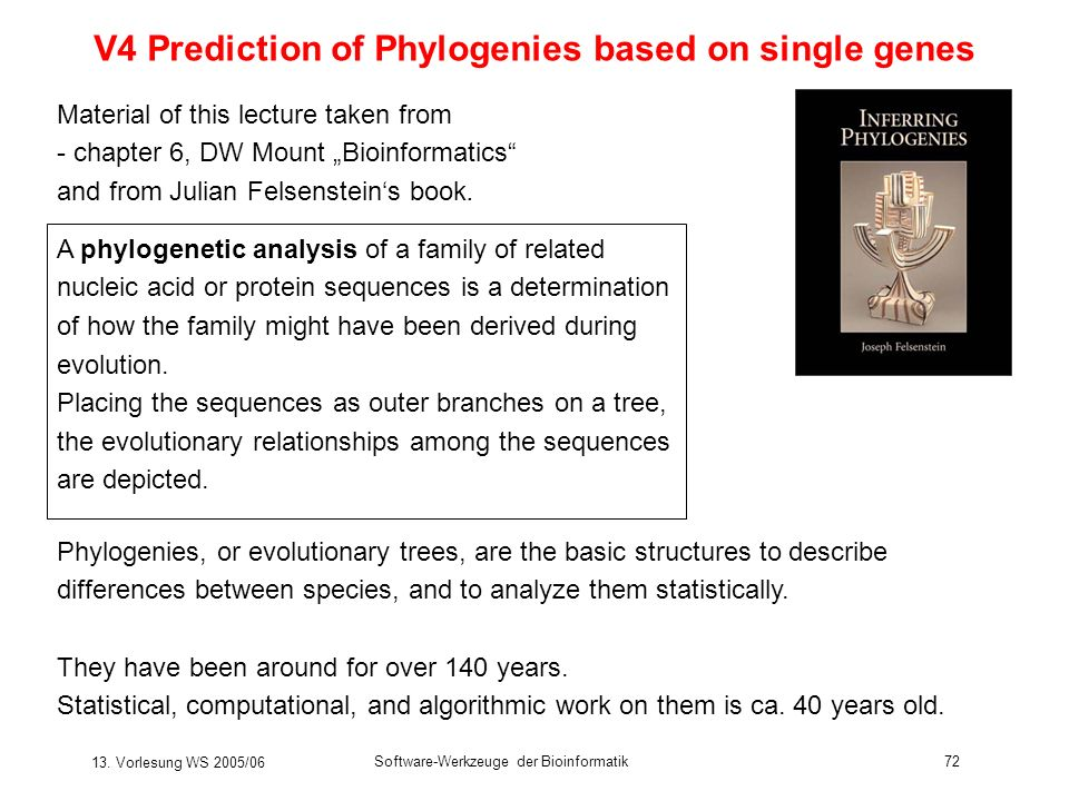 13. Vorlesung WS 2005/06 Software-Werkzeuge der Bioinformatik72 V4 Prediction of Phylogenies based on single genes Material of this lecture taken from