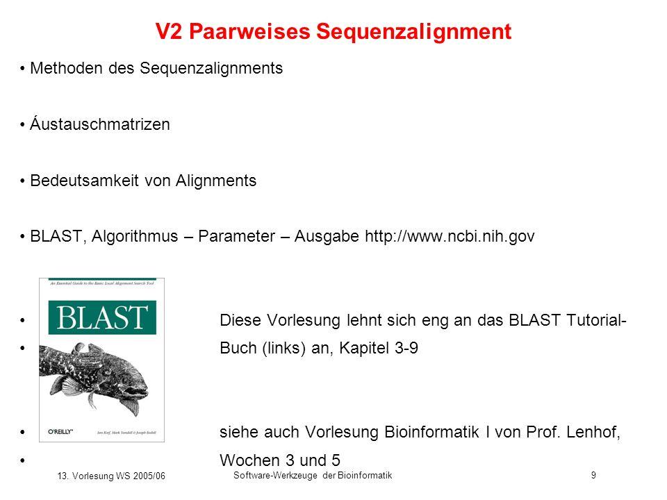 13. Vorlesung WS 2005/06 Software-Werkzeuge der Bioinformatik9 V2 Paarweises Sequenzalignment Methoden des Sequenzalignments Áustauschmatrizen Bedeuts