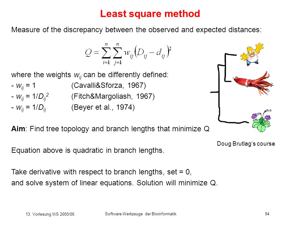 13. Vorlesung WS 2005/06 Software-Werkzeuge der Bioinformatik94 Least square method Measure of the discrepancy between the observed and expected dista
