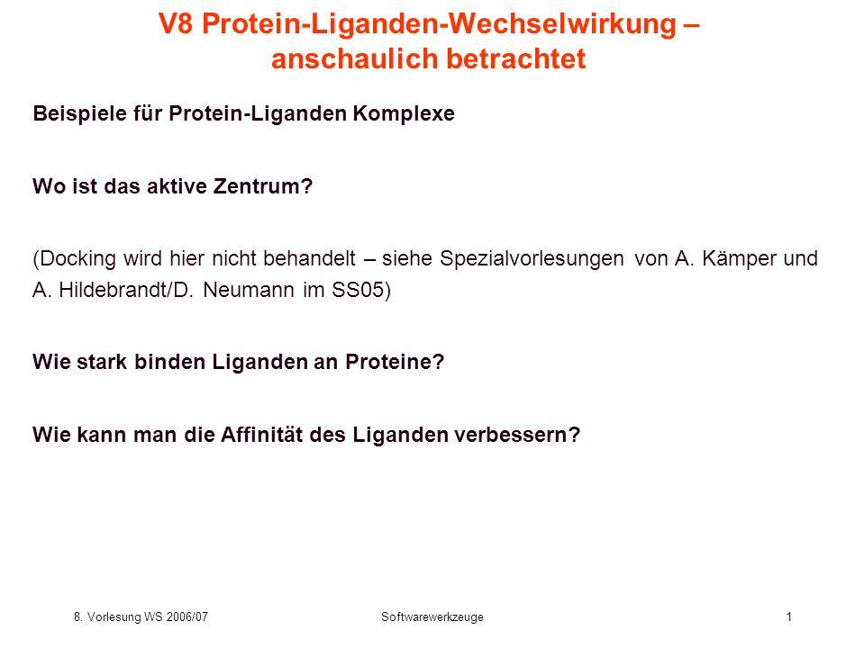 8. Vorlesung WS 2006/07Softwarewerkzeuge1 V8 Protein-Liganden-Wechselwirkung – anschaulich betrachtet Beispiele für Protein-Liganden Komplexe Wo ist d