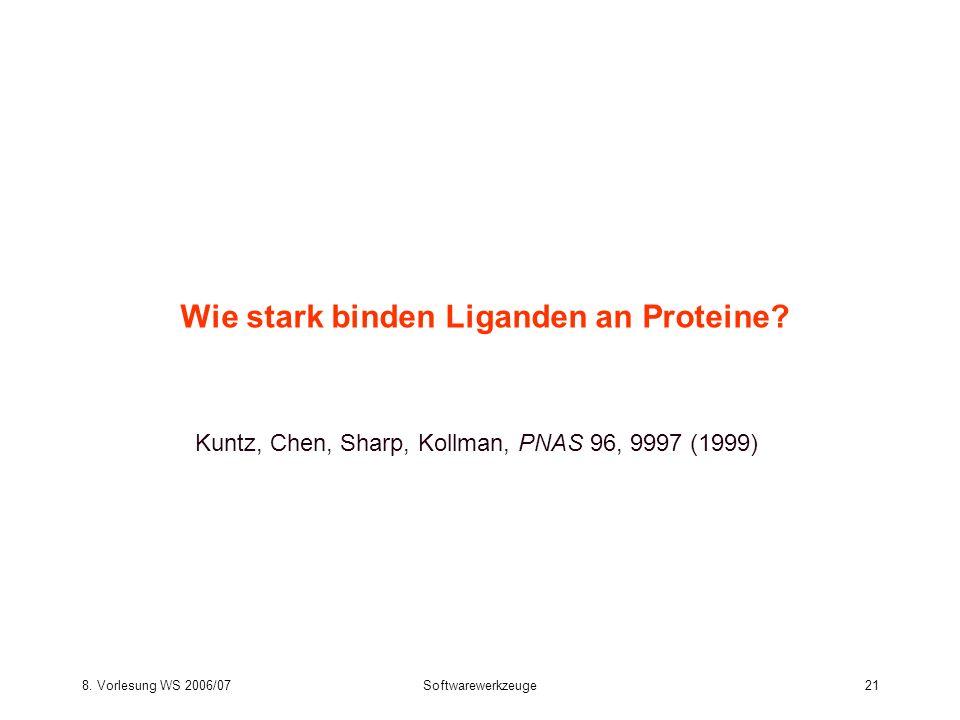 8. Vorlesung WS 2006/07Softwarewerkzeuge21 Wie stark binden Liganden an Proteine? Kuntz, Chen, Sharp, Kollman, PNAS 96, 9997 (1999)