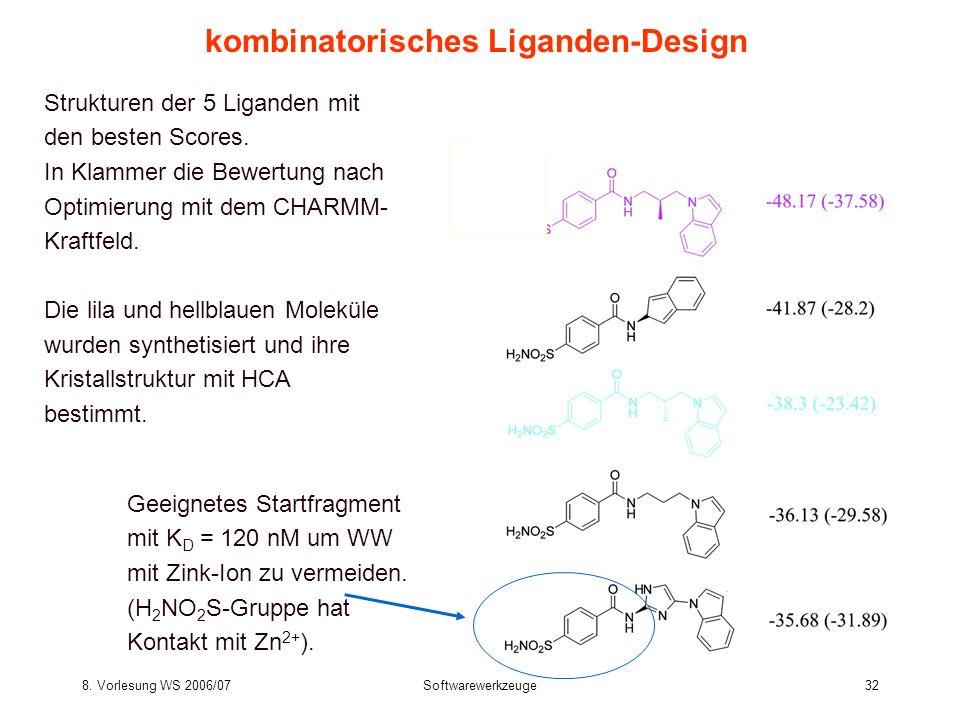 8. Vorlesung WS 2006/07Softwarewerkzeuge32 Strukturen der 5 Liganden mit den besten Scores. In Klammer die Bewertung nach Optimierung mit dem CHARMM-