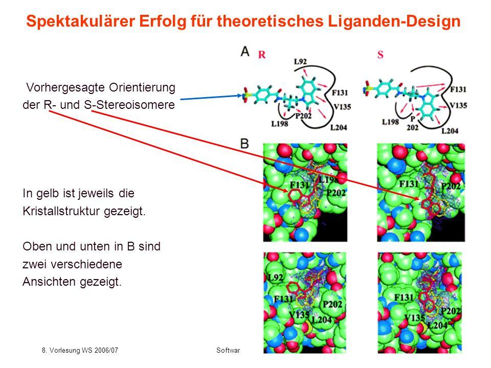 8. Vorlesung WS 2006/07Softwarewerkzeuge33 Spektakulärer Erfolg für theoretisches Liganden-Design Vorhergesagte Orientierung der R- und S-Stereoisomer