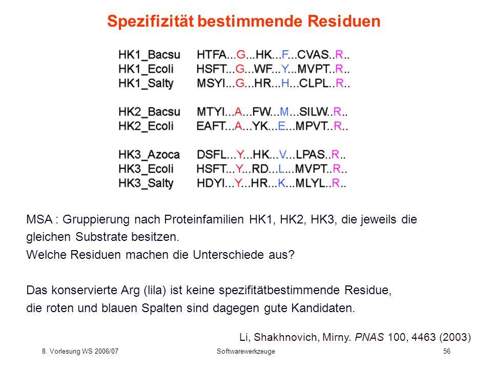 8. Vorlesung WS 2006/07Softwarewerkzeuge56 Spezifizität bestimmende Residuen MSA : Gruppierung nach Proteinfamilien HK1, HK2, HK3, die jeweils die gle