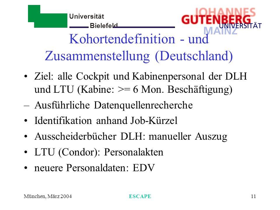 Universität Bielefeld - München, März 2004ESCAPE12 Follow-up Alle Ausgeschiedenen wurden über Einwohnermeldeämter nachverfolgt Vitalstatus zum 31.12.1997 falls verstorben: Todesursachenkopie von Gesundheitsämtern (Ärzte, Angehörige)
