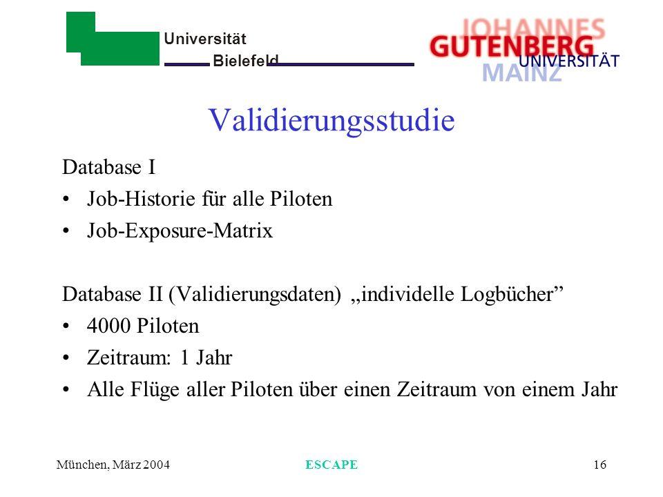 Universität Bielefeld - München, März 2004ESCAPE16 Validierungsstudie Database I Job-Historie für alle Piloten Job-Exposure-Matrix Database II (Validi