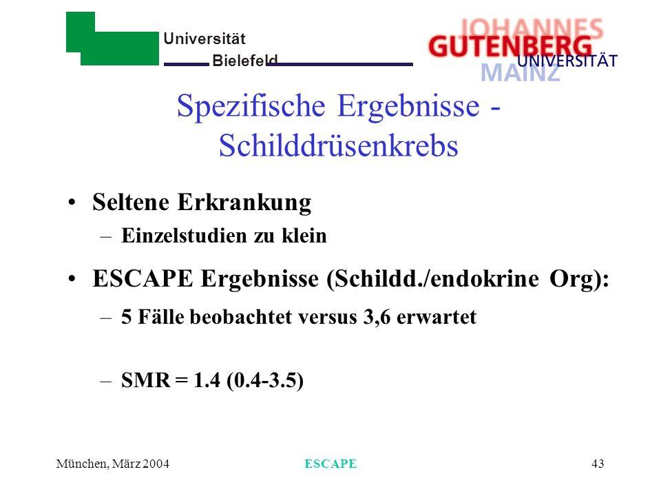 Universität Bielefeld - München, März 2004ESCAPE43 Spezifische Ergebnisse - Schilddrüsenkrebs Seltene Erkrankung –Einzelstudien zu klein ESCAPE Ergebn