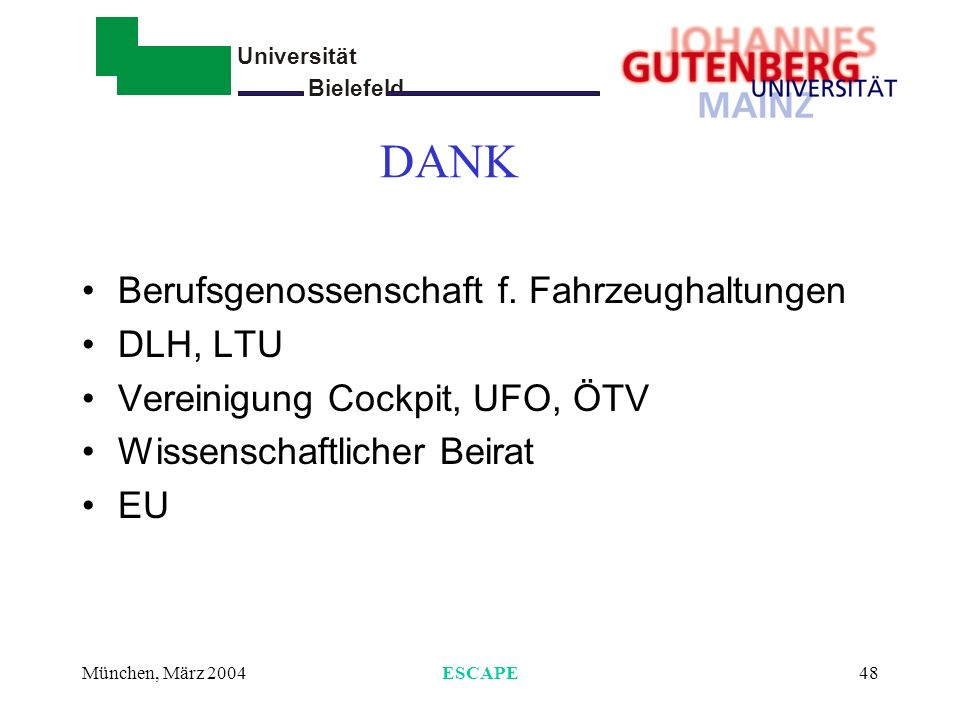 Universität Bielefeld - München, März 2004ESCAPE48 DANK Berufsgenossenschaft f. Fahrzeughaltungen DLH, LTU Vereinigung Cockpit, UFO, ÖTV Wissenschaftl