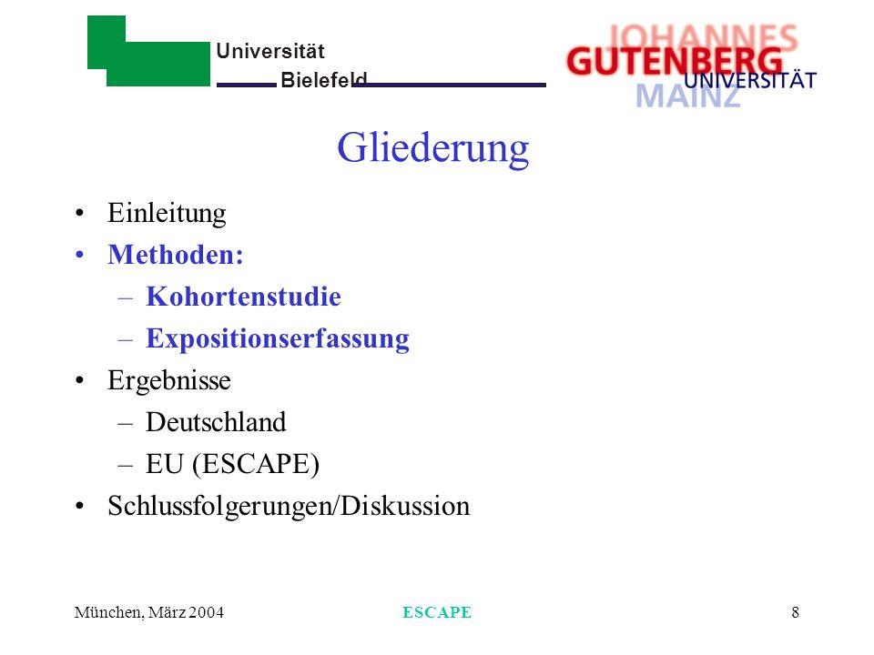 Universität Bielefeld - München, März 2004ESCAPE8 Gliederung Einleitung Methoden: –Kohortenstudie –Expositionserfassung Ergebnisse –Deutschland –EU (E