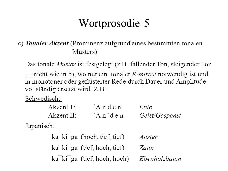 Wortprosodie 5 c) Tonaler Akzent (Prominenz aufgrund eines bestimmten tonalen Musters) Das tonale Muster ist festgelegt (z.B. fallender Ton, steigende
