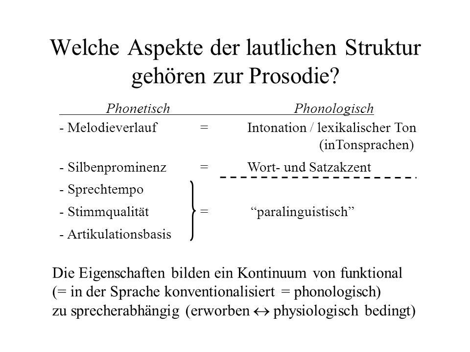 Welche Aspekte der lautlichen Struktur gehören zur Prosodie? Die Eigenschaften bilden ein Kontinuum von funktional (= in der Sprache konventionalisier