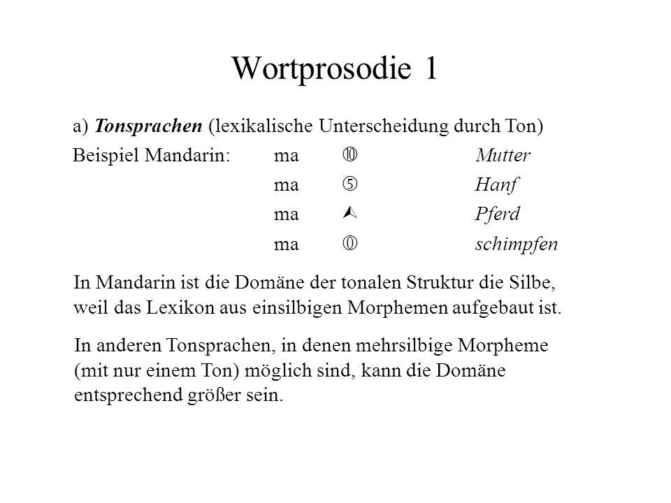 Wortprosodie 1 a) Tonsprachen (lexikalische Unterscheidung durch Ton) Beispiel Mandarin:ma Mutter ma Hanf ma Pferd ma schimpfen In Mandarin ist die Do
