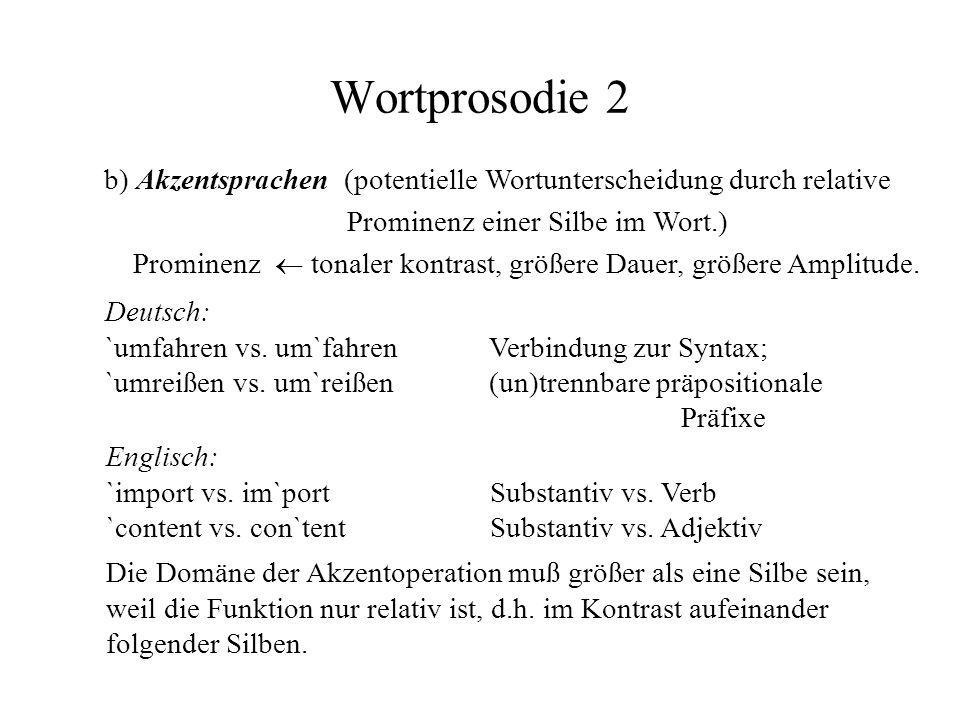 Wortprosodie 2 b) Akzentsprachen (potentielle Wortunterscheidung durch relative Prominenz einer Silbe im Wort.) Prominenz tonaler kontrast, größere Da