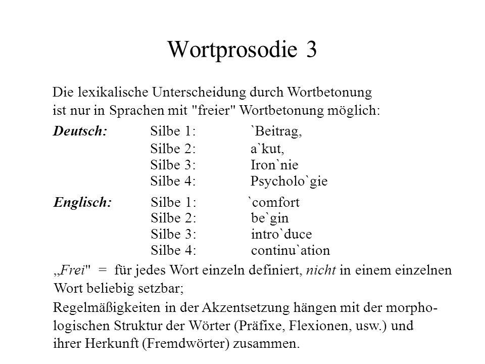 Wortprosodie 3 Die lexikalische Unterscheidung durch Wortbetonung ist nur in Sprachen mit