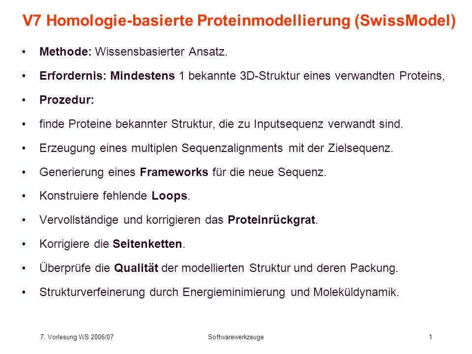 7. Vorlesung WS 2006/07Softwarewerkzeuge1 V7 Homologie-basierte Proteinmodellierung (SwissModel) Methode: Wissensbasierter Ansatz. Erfordernis: Mindes
