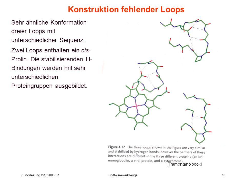7. Vorlesung WS 2006/07Softwarewerkzeuge10 Sehr ähnliche Konformation dreier Loops mit unterschiedlicher Sequenz. Zwei Loops enthalten ein cis- Prolin