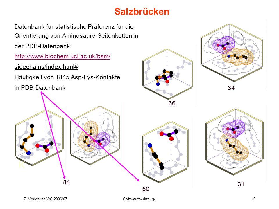 7. Vorlesung WS 2006/07Softwarewerkzeuge16 Salzbrücken Datenbank für statistische Präferenz für die Orientierung von Aminosäure-Seitenketten in der PD