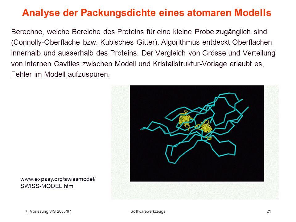 7. Vorlesung WS 2006/07Softwarewerkzeuge21 Berechne, welche Bereiche des Proteins für eine kleine Probe zugänglich sind (Connolly-Oberfläche bzw. Kubi