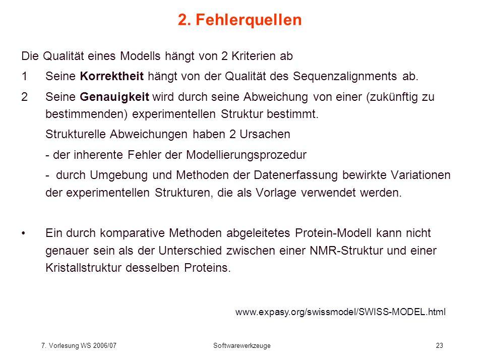 7. Vorlesung WS 2006/07Softwarewerkzeuge23 2. Fehlerquellen Die Qualität eines Modells hängt von 2 Kriterien ab 1Seine Korrektheit hängt von der Quali