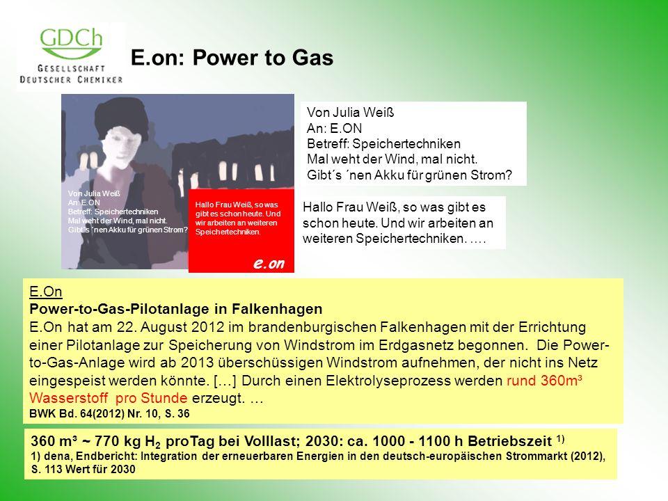 E.on: Power to Gas Von Julia Weiß An: E.ON Betreff: Speichertechniken Mal weht der Wind, mal nicht. Gibt´s ´nen Akku für grünen Strom? Hallo Frau Weiß