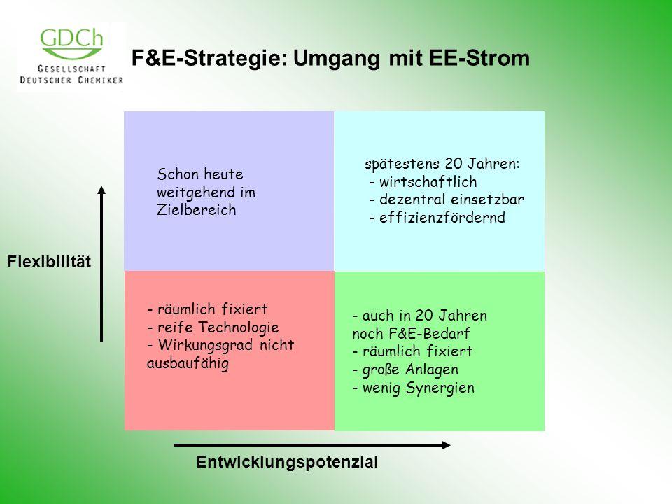 F&E-Strategie: Umgang mit EE-Strom Flexibilität Entwicklungspotenzial spätestens 20 Jahren: - wirtschaftlich - dezentral einsetzbar - effizienzfördern