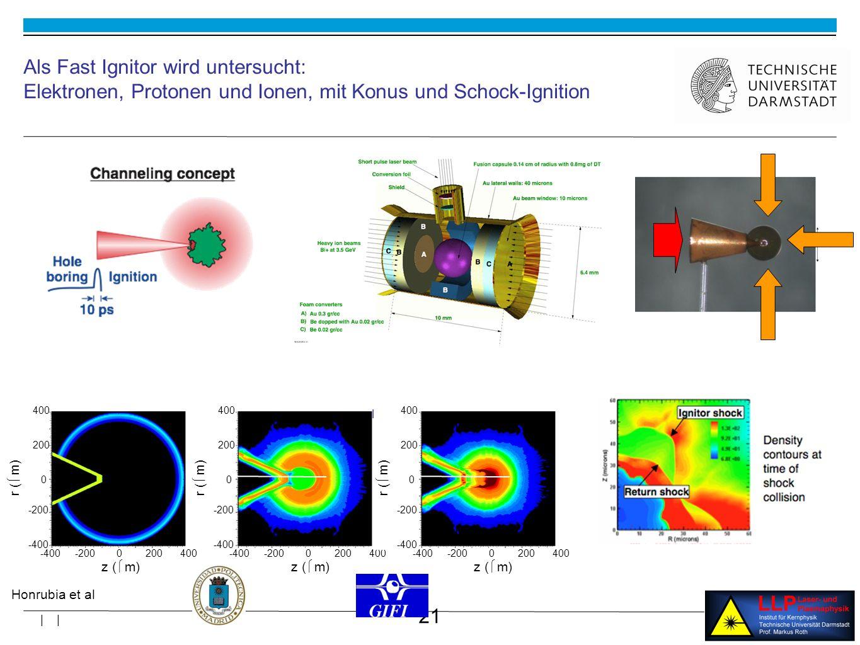 21 | | 0 -200 -400 200 400 z ( m) r ( m) 0 -200 -400 200 400 0.01 35 (g/cm 3 ) Als Fast Ignitor wird untersucht: Elektronen, Protonen und Ionen, mit Konus und Schock-Ignition Honrubia et al r ( m) 0 -200 -400 200 400 0 -200 -400 200 400 z ( m) log 10 (g/cm 3 ) 3 r ( m) 0 -200 -400 200 400 0 -200 -400 200 400 z ( m)