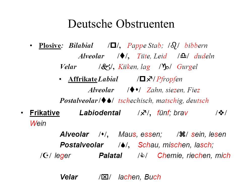 Deutsche Obstruenten Plosive:Bilabial p, Pappe Stab; b bibbern Alveolar t, Tüte, Leid d dudeln Velar k, Küken, lag g Gurgel AffrikateLabial pf Pfropfe