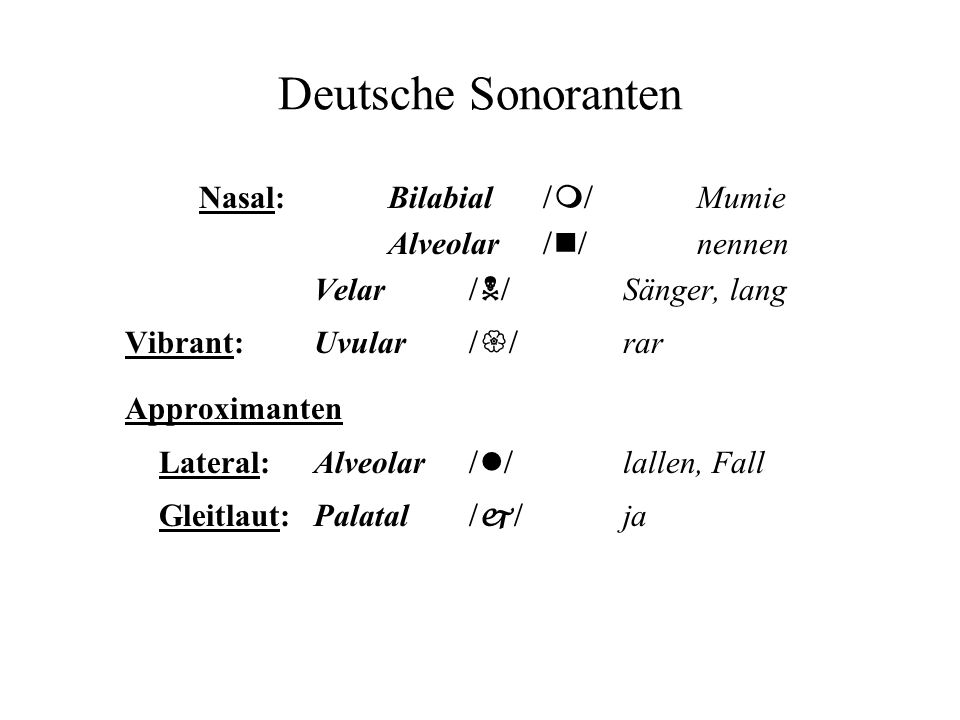 Deutsche Sonoranten Nasal:Bilabial m Mumie Alveolar n nennen Velar N Sänger, lang Vibrant: Uvular rar Approximanten Lateral: Alveolar l lallen, Fall G