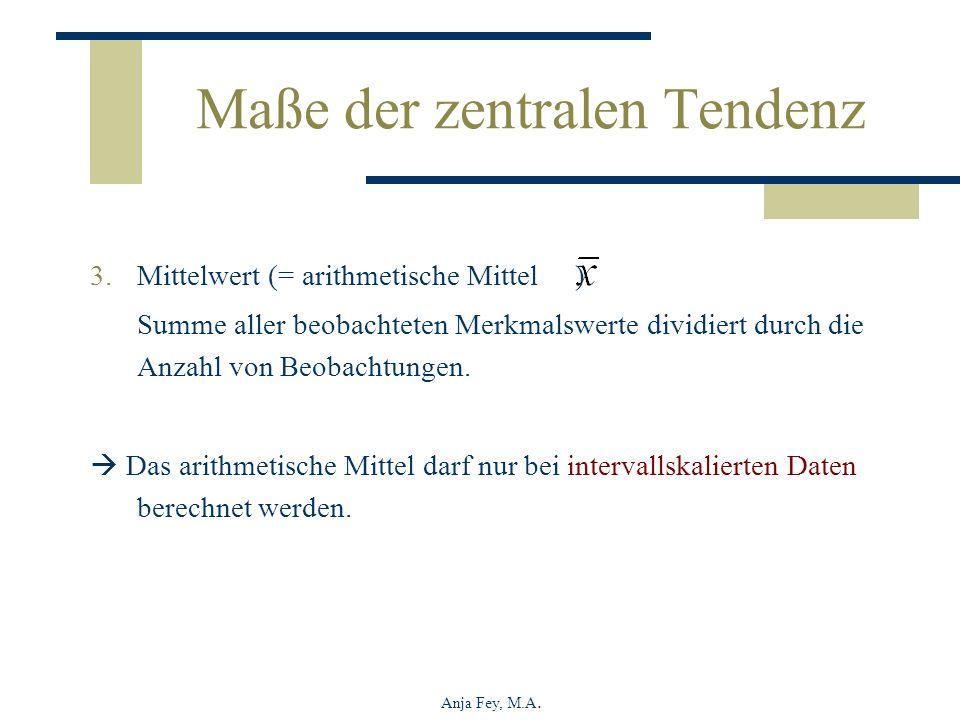 Anja Fey, M.A. Maße der zentralen Tendenz 3.Mittelwert (= arithmetische Mittel ) Summe aller beobachteten Merkmalswerte dividiert durch die Anzahl von