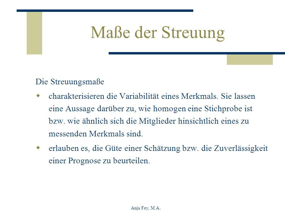 Anja Fey, M.A. Maße der Streuung Die Streuungsmaße charakterisieren die Variabilität eines Merkmals. Sie lassen eine Aussage darüber zu, wie homogen e