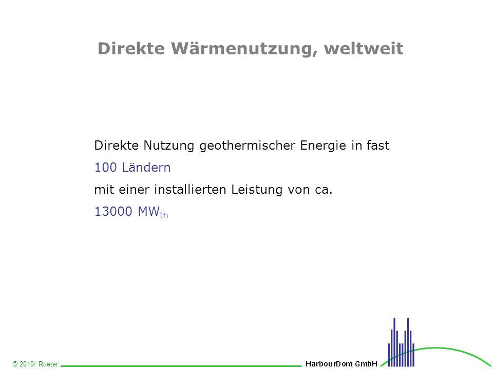 © 2010/ Rueter Direkte Wärmenutzung, weltweit Direkte Nutzung geothermischer Energie in fast 100 Ländern mit einer installierten Leistung von ca. 1300