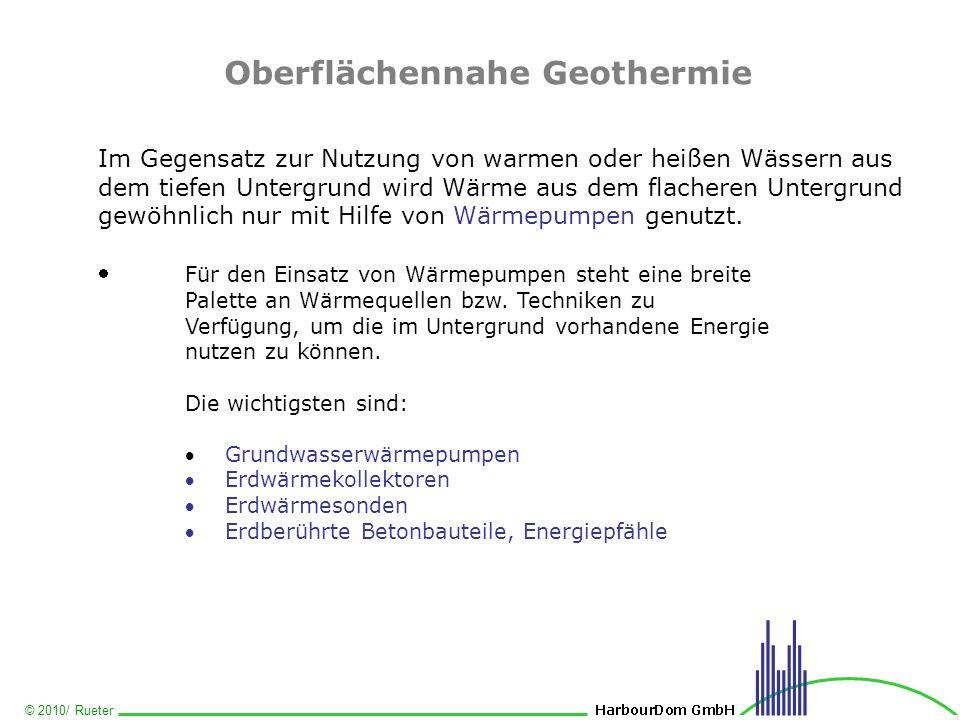 © 2010/ Rueter Oberflächennahe Geothermie Im Gegensatz zur Nutzung von warmen oder heißen Wässern aus dem tiefen Untergrund wird Wärme aus dem flacher