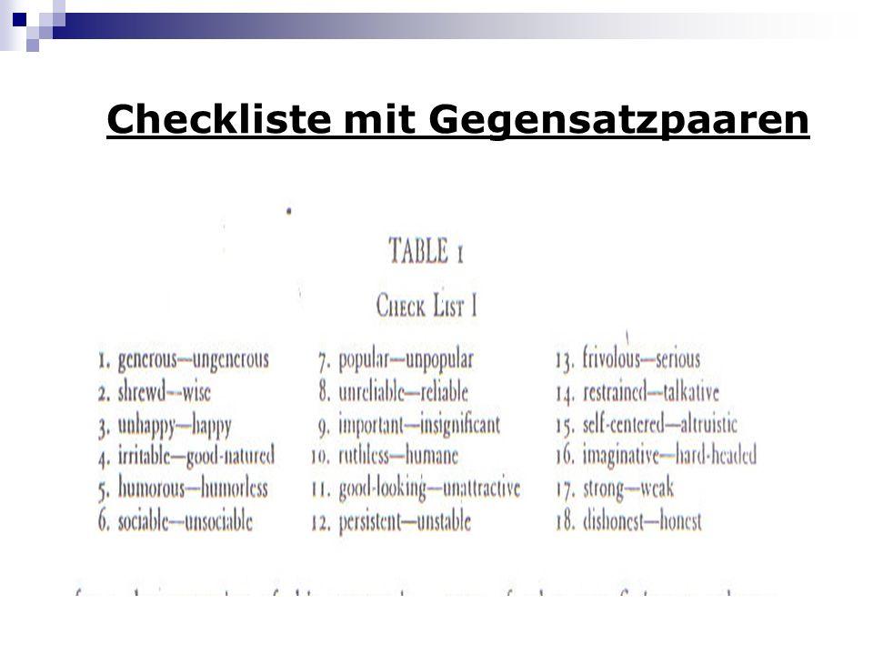 Checkliste mit Gegensatzpaaren