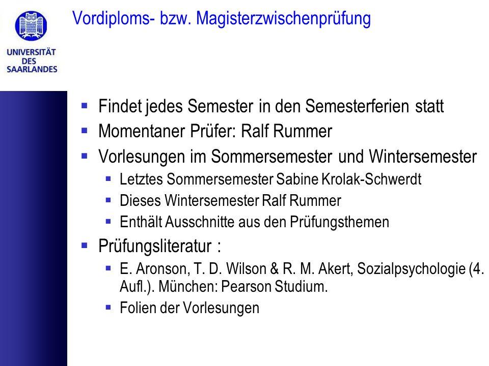 Vordiploms- bzw. Magisterzwischenprüfung Findet jedes Semester in den Semesterferien statt Momentaner Prüfer: Ralf Rummer Vorlesungen im Sommersemeste