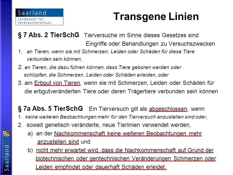 Transgene Linien § 7 Abs. 2 TierSchG Tierversuche im Sinne dieses Gesetzes sind Eingriffe oder Behandlungen zu Versuchszwecken 1.an Tieren, wenn sie m