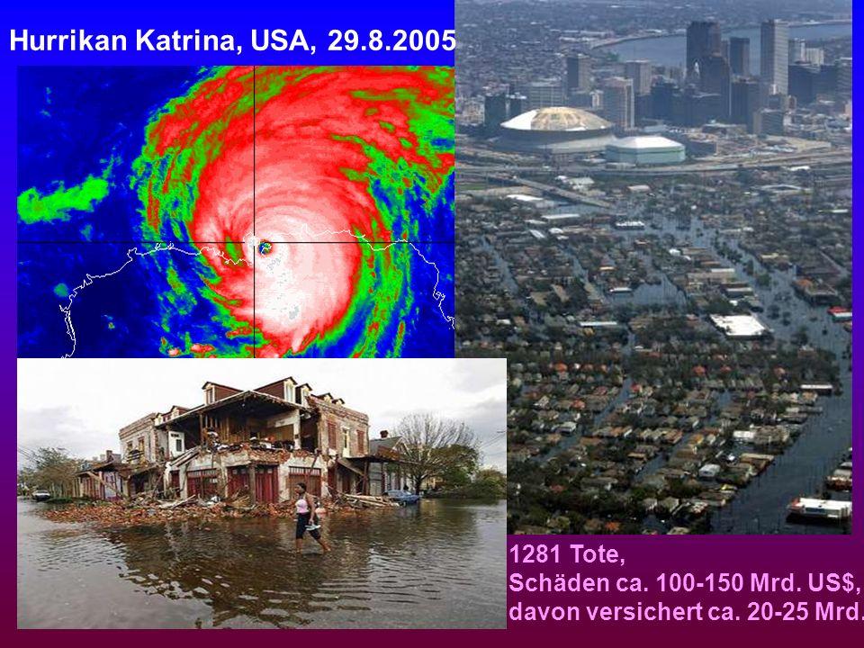 Hurrikan Katrina, USA, 29.8.2005 1281 Tote, Schäden ca. 100-150 Mrd. US$, davon versichert ca. 20-25 Mrd.