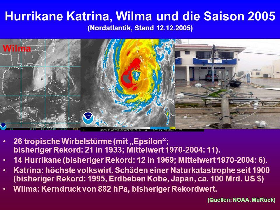 Hurrikane Katrina, Wilma und die Saison 2005 (Nordatlantik, Stand 12.12.2005) 26 tropische Wirbelstürme (mit Epsilon; bisheriger Rekord: 21 in 1933; M