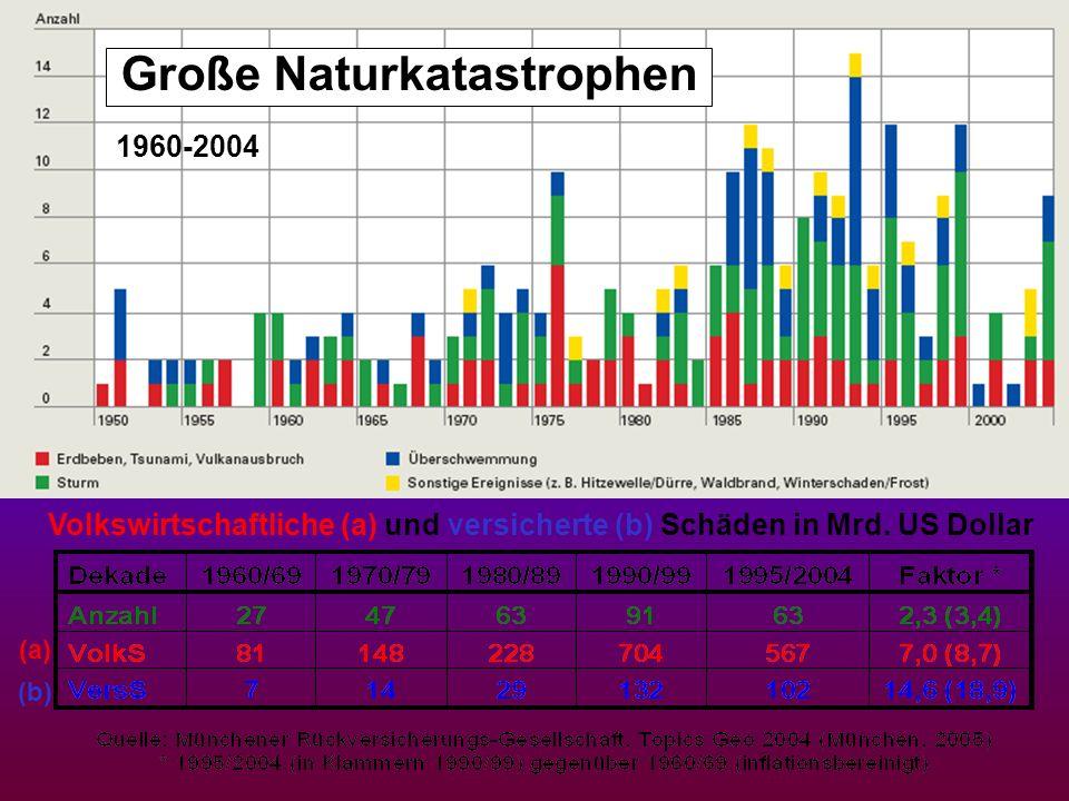 Große Naturkatastrophen Volkswirtschaftliche (a) und versicherte (b) Schäden in Mrd. US Dollar (a) (b) 1960-2004