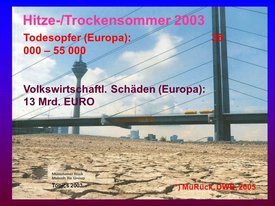Todesopfer (Europa): 35 000 – 55 000 Volkswirtschaftl. Schäden (Europa): 13 Mrd. EURO Topics 2003 Hitze-/Trockensommer 2003 *) MüRück, DWD, 2005